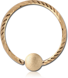 14 KARAT GOLD YELLOW FIXED BEAD RING WITH DIAMOND CUTTING AND BRUSHED BALL