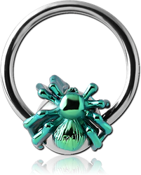 SURGICAL STEEL GRADE 316L BALL CLOSURE RING WITH ANODISED SPIDER