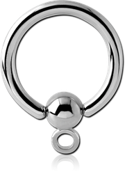 SURGICAL STEEL GRADE 316L BALL CLOSURE RING WITH HOOP