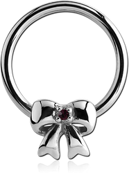 SURGICAL STEEL GRADE 316L JEWELED BALL CLOSURE RING - BOW