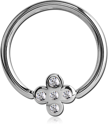 SURGICAL STEEL GRADE 316L JEWELED BALL CLOSURE RING