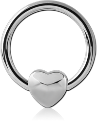 SURGICAL STEEL GRADE 316L BALL CLOSURE RING WITH HEART ATTACHMENT