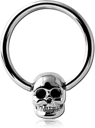 SURGICAL STEEL GRADE 316L BALL CLOSURE RING WITH SKULL ATTACHMENT