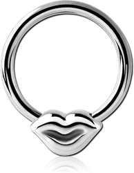 SURGICAL STEEL GRADE 316L BALL CLOSURE RING - LIPS