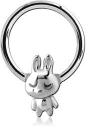 SURGICAL STEEL GRADE 316L BALL CLOSURE RING WITH ATTACHMENT - TEDDY RABBIT