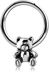 SURGICAL STEEL GRADE 316L BALL CLOSURE RING WITH ATTACHMENT - TEDDYBEAR