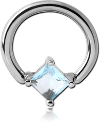 SURGICAL STEEL GRADE 316L BALL CLOSURE RING WITH PRONG SET SQUARE JEWEL ATTACHMENT