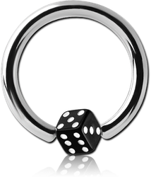 SURGICAL STEEL GRADE 316L BALL CLOSURE RING WITH UV DICE