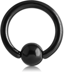 BLACK PVD COATED SURGICAL STEEL GRADE 316L ANNEALED BALL CLOSURE RING