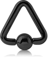 BLACK PVD COATED SURGICAL STEEL GRADE 316L TRIANGLE BALL CLOSURE RING