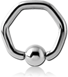 SURGICAL STEEL GRADE 316L HEXAGON BALL CLOSURE RING