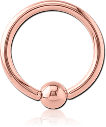 ROSE GOLD PVD COATED SURGICAL STEEL GRADE 316L BALL CLOSURE RING