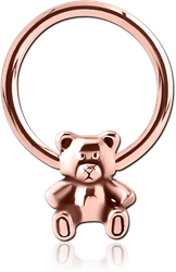 ROSE GOLD PVD SURGICAL STEEL GRADE 316L BALL CLOSURE RING WITH ATTACHMENT - TEDDYBEAR