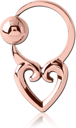 ROSE GOLD PVD COATED SURGICAL STEEL GRADE 316L HEART SIDE BALL CLOSURE RING