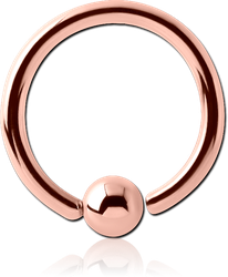 ROSE GOLD PVD COATED SURGICAL STEEL GRADE 316L FIXED BEAD RING