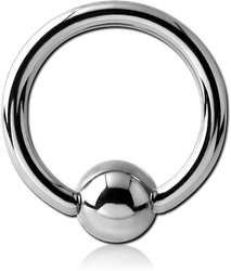 TITANIUM ALLOY BALL CLOSURE RING WITH SURGICAL STEEL GRADE 316L BALL