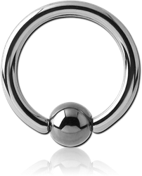 TITANIUM ALLOY BALL CLOSURE RING WITH HEMATITE BALL