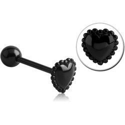 BLACK PVD COATED SURGICAL STEEL GRADE 316L BARBELL WITH MILGRAIN HEART ATTACHMENT
