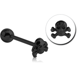 BLACK PVD COATED SURGICAL STEEL GRADE 316L BARBELL ATTACHMENT - BONES SKULL