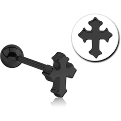 BLACK PVD COATED SURGICAL STEEL GRADE 316L BARBELL ATTACHMENT - CROSS