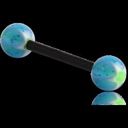 UV POLYMER FLEXIBLE BARBELL WITH GLITTERING MURANO BALL