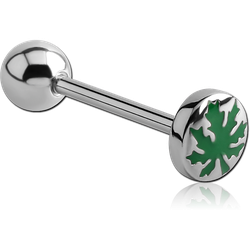 SURGICAL STEEL GRADE 316L FLAT POT LEAF BARBELL