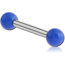 SURGICAL STEEL GRADE 316L BARBELL WITH ACRYLIC NEON BALL