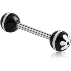 SURGICAL STEEL GRADE 316L BARBELL WITH ACRYLIC RETRO FLOWER PRINTED BALL