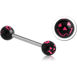 SURGICAL STEEL GRADE 316L BARBELL WITH ACRYLIC JACK-O-LANTERN PRINTED BALL