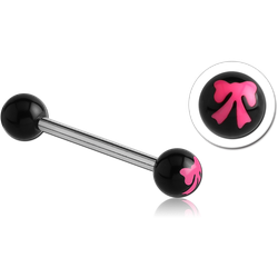 SURGICAL STEEL GRADE 316L BARBELL WITH ACRYLIC BOW PRINTED BALL