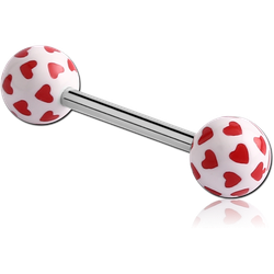SURGICAL STEEL GRADE 316L BARBELL WITH ACRYLIC HEART PRINTED BALL