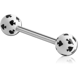 SURGICAL STEEL GRADE 316L BARBELL WITH ACRYLIC SPADE PRINTED BALL