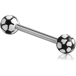 SURGICAL STEEL GRADE 316L BARBELL WITH ACRYLIC SOCCER PRINTED BALL