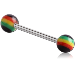 SURGICAL STEEL GRADE 316L BARBELL WITH ACRYLIC RASTA BALL