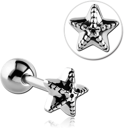 SURGICAL STEEL GRADE 316L STARFISH BARBELL
