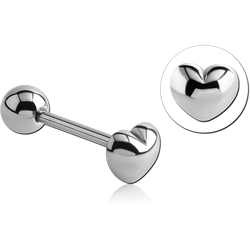 SURGICAL STEEL GRADE 316L HEART BARBELL