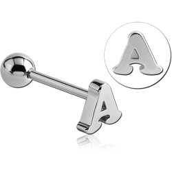 SURGICAL STEEL GRADE 316L BARBELL WITH LETTER - A
