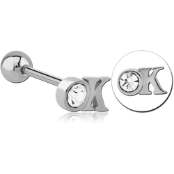 SURGICAL STEEL GRADE 316L JEWELED BARBELL - OK