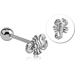 SURGICAL STEEL GRADE 316L LARGE SCORPION BARBELL