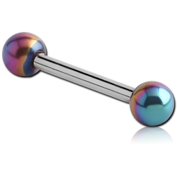 SURGICAL STEEL GRADE 316L MICRO BARBELL WITH ANODISED BALLS
