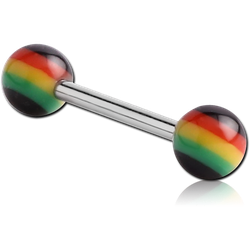 SURGICAL STEEL GRADE 316L MICRO BARBELL WITH ACRYLIC RASTA BALLS