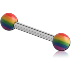MICRO BARBELL WITH UV POLYMER RAINBOW BALLS