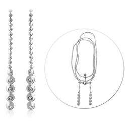 RHODIUM PLATED BASE METAL BELLY CHAIN WITH JEWELS