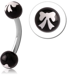 SURGICAL STEEL GRADE 316L MICRO CURVED BARBELL WITH POLYMER PRINTED BALLS