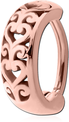 ROSE GOLD PVD COATED SURGICAL STEEL GRADE 316L BELLY CLICKER - FILIGREE