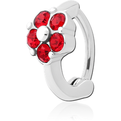 SURGICAL STEEL GRADE 316L JEWELED BELLY CLICKER - FLOWER