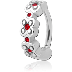 SURGICAL STEEL GRADE 316L JEWELED BELLY CLICKER - FLOWERS