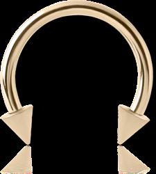 14 KARAT GOLD YELLOW MICRO CIRCULAR BARBELL WITH CONES