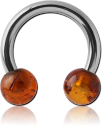 SURGICAL STEEL GRADE 316L CIRCULAR BARBELL WITH ORGANIC AMBER BALLS