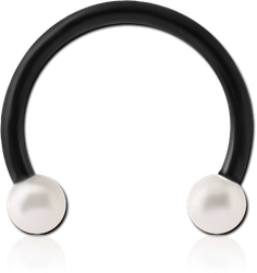 BLACK PVD COATED SURGICAL STEEL GRADE 316L MICRO CIRCULAR BARBELL WITH ORGANIC SYNTHETIC PEARLS